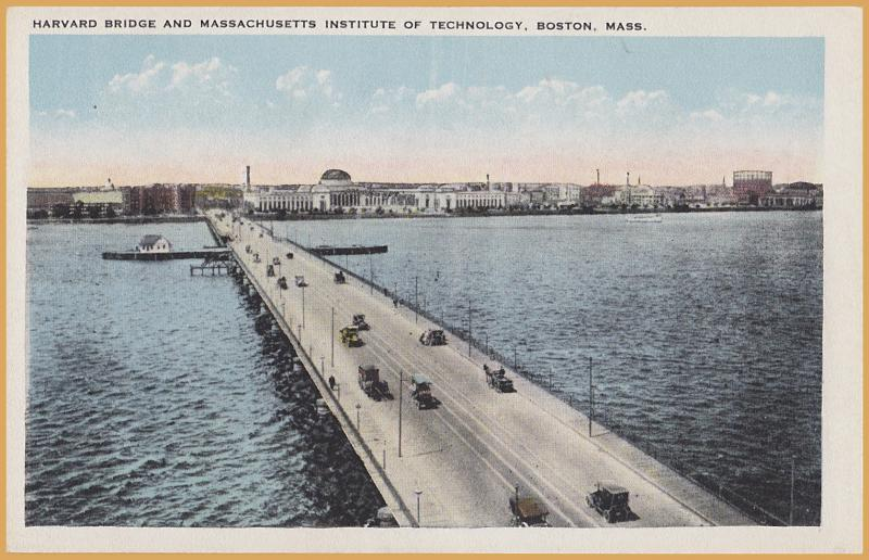 Boston, Mass., Harvard Bridge and Mass. Institute of Technology-Many old cars