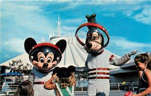 Mickey Goofy Tomorrowland Space Mountain Walt Disney World Florida Postcard