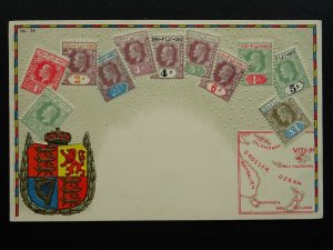 FIJI Philately STAMPS, MAP & HERALDIC ARMS c1910 Embossed Postcard