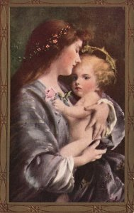 ?Vintage Postcard 1900's Portrait of a Beautiful Mother and Child Painting Art