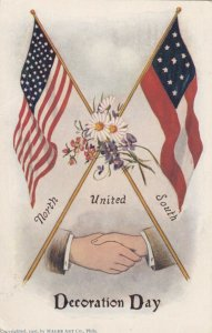 DECORATION DAY , 1900-1910s ; USA & CSA flags