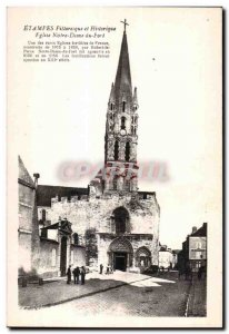 Old Postcard Etampes Pilloresque History and Church of Notre Dome Fort