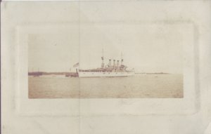 NAVY SHIP...Black and white photo shows the US Flagged ship 1900s