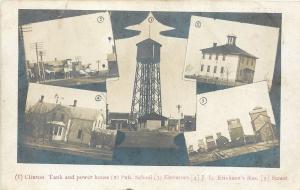 Clinton MN Main St~Tank & Power House~School~Erickson Home~Elevators~c1915 RPPC