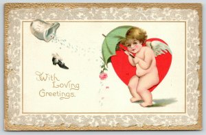 Valentine~TUCK Cupids Series~Gold & White Lace Border~Rice~Flying Shoe~Umbrella