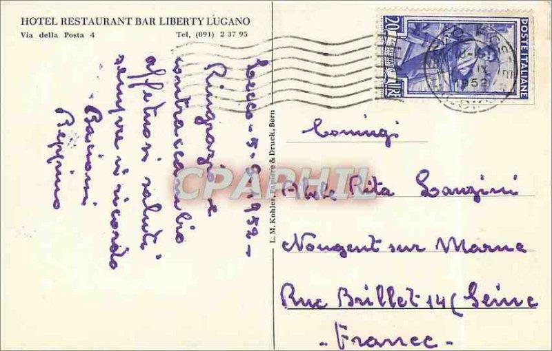 Postcard Modern Hotel Restaurant Bar Liberty Lugano via della Posta