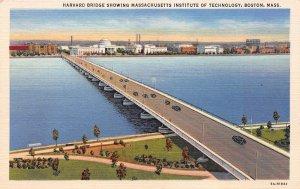 Harvard Bridge Showing M.I.T., Boston, Mass., Early Linen Postcard, Unused