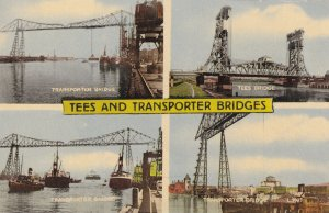 Tees and Transporter Bridges Newcastle Tyne 1960s Postcard