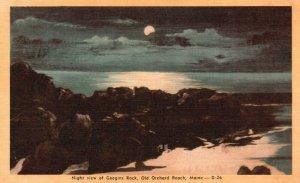 Old Orchard Beach, ME, Googins Rock at Night, Linen Vintage Postcard g8258