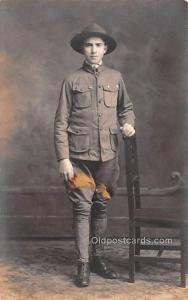 Military Man Real Photo Unused stain on card, perfect corners