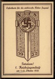 Germany 1932 Hitler Reichsjugendtag Youth Sachsen Potsdam Propaganda Card 93392