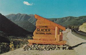 Glacier National Park Sign, WEST GLACIER, Alberta, Canada, 40-60's
