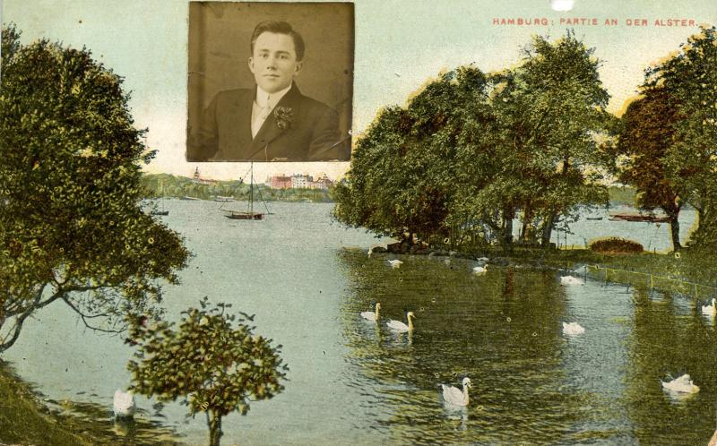 Germany - Hamburg. Partie an der Alster. RPPC of John pasted on front.
