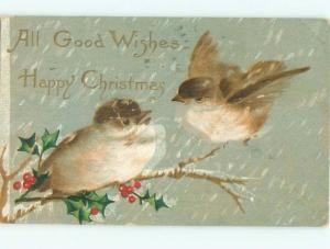 Pre-Linen Christmas BEAUTIFUL LARGE BIRDS ON WINTER BRANCH AB5096