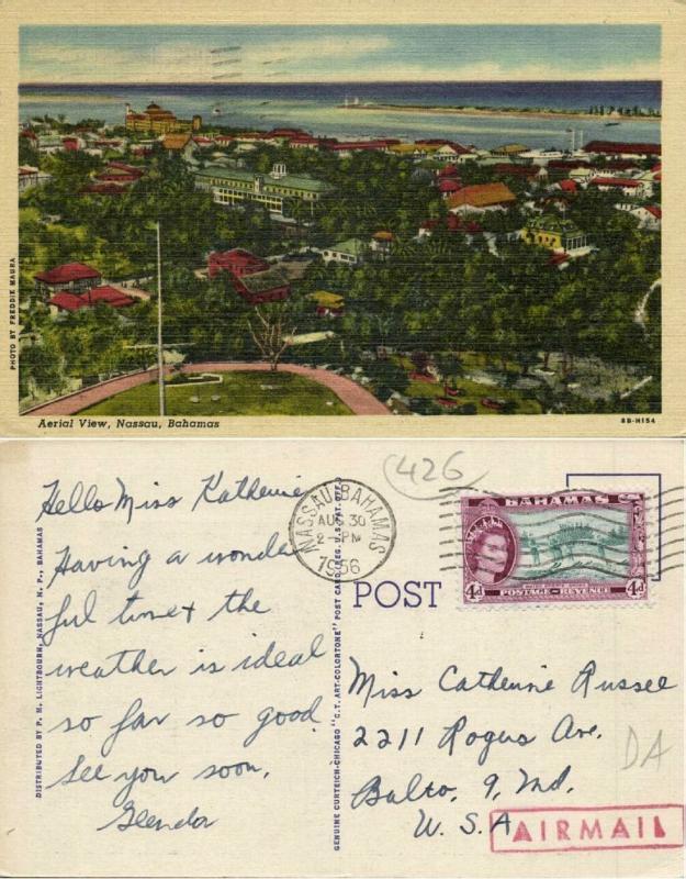 bahamas, NASSAU, Aerial View (1956) Stamp