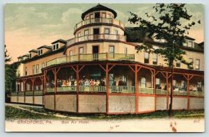 Bradford Pennsylvania~Bon Air Hotel~Guests Crowd Wrap Around Porch~1907
