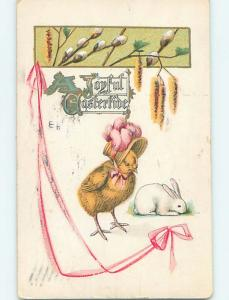 Pre-Linen easter BUNNY RABBIT BESIDE HUMANIZED CHICK WEARING HAT HL0603