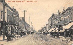 LP11 Maquoketa  Iowa Postcard Main St. Looking North Horse Buggy