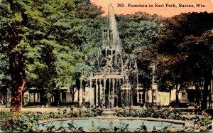 Wisconsin Racine Fountain In East Park 1913