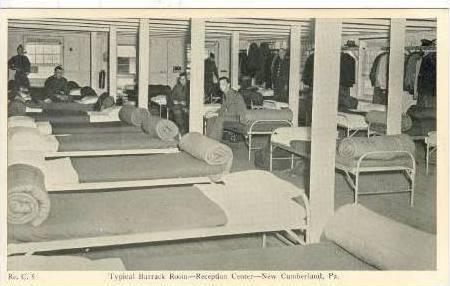 Inside Barrack Room, Reception Center, New Cumberland, Pennsylvania, 1942 PU