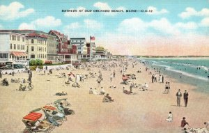 Vintage Postcard 1930's Bathers At Old Orchard Beach Maine ME