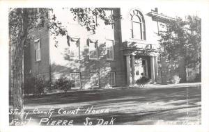 D48/ Fort Pierre South Dakota SD Postcard RPPC c50s Stanley County Court House