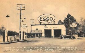 Deepwater NJ Esso Gas Station Old Car Happy Motoring Postcard
