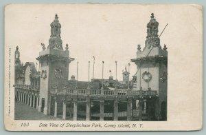 Coney Island New York~Steeplechase Side View~Fence Below~c1905 B&W Postcard