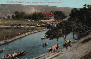 Turkey Constantinople Kiosk Imperial aux Douces d'Europe Boats River Postcard