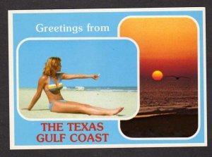 TX Greetings Texas Gulf Coast Pin Up Girl Bathing Beauty Postcard Sunset PC
