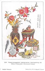 Japan Flower-Arrangement, Incense-Burner, Scroll-Painting Postcard
