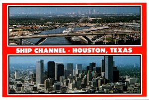 Texas Houston Aerial View Of Bridge Ship Channel and Harbor