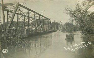 Beatrice Nebraska 1911 Truss Girder Bridge Flood RPPC Photo Postcard 21-7340