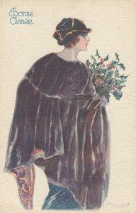 Art Deco Woman portrait , 1900-10s ; #12A ; Artist Bompard