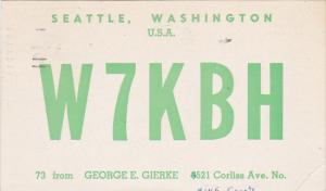W7KBH George E Gierke Seattle Washington 1961