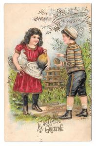 Easter Greetings Boy Girl Chickens Hens Embossed Postcard