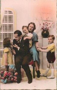 family portrait picture retro elegant clothing floral arrangement  Post card