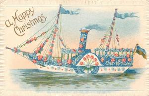 Embossed Happy Christmas Floral Ship, Forget-me-Not Flowers Fac-Smile
