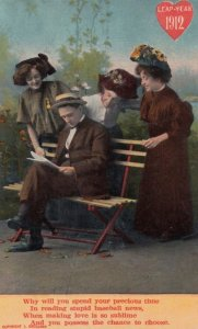 LEAP YEAR, PU-1912; Rhyme, Women admiring man on bench reading the newspaper