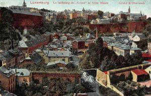 Luxembourg Le faubourg du Grund et Ville Haute Panorama Postcard