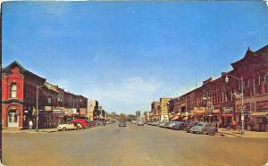 Storm Lake IA Main Street View Store Fronts Old Cars Postcard