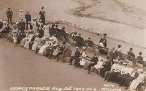 Ilfracombe Devon 1908 Church Parade Lots Seated Antique RPC Postcard