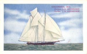 Columbia 1871 The Third Race For The America's Cup Long Island City NY Postcard
