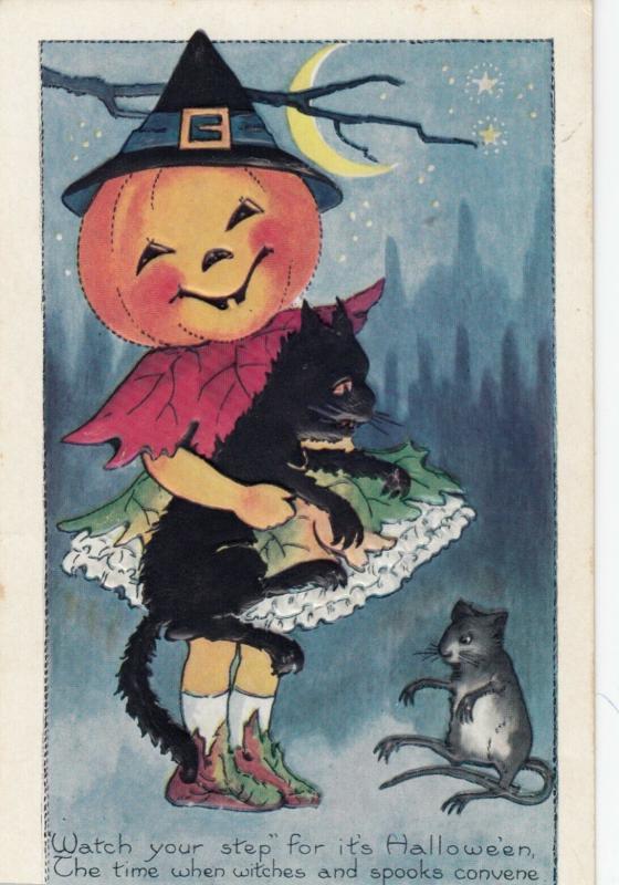 Pumpkin Head HALLOWEEN Postcard, 00-10s ; Witch, Black Cat