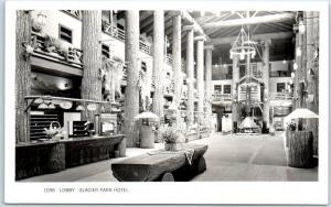 Glacier National Park RPPC Photo Postcard Lobby MANY GLACIER HOTEL Horiz 1950s