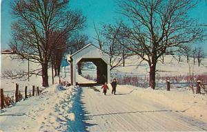 Snow Capped Mill Seat Covered Bridge, Lisbon, Ohio OH