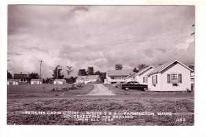 Real Photo, Perkins Cabin Court, Housekeeping and Bathing, 50's Cars Farmingt...