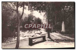 Old Postcard Luchon Statue of Edmond Rostand and Crute Pique