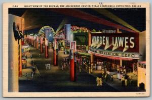 Dallas~Texas Centennial Exposition~Midway Night Lights~Scooter~Ripley~1936 Linen