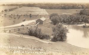 Larned KS State Insane Hospital~Dam~Water Works~Pond~Pipeline~Fields~RPPC c1925